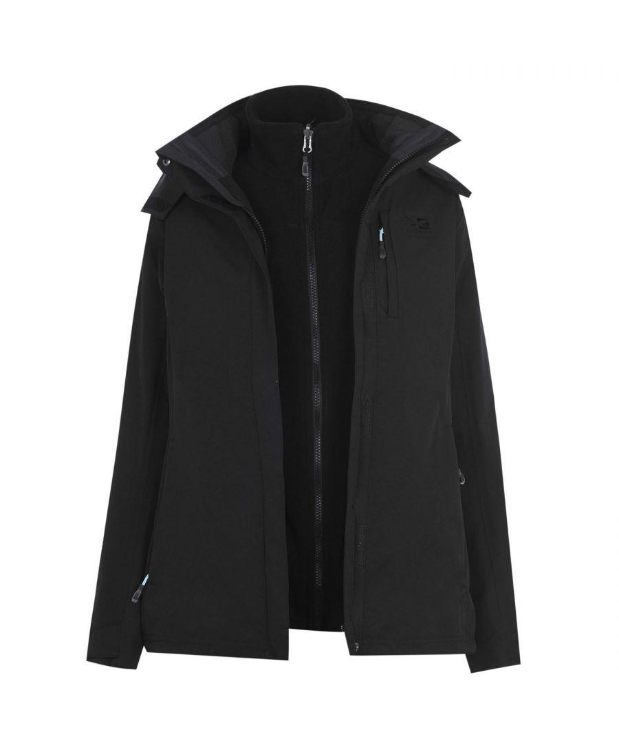 Karrimor Womens 3in1 Jacket Coat Top Ladies Hooded Fleece Mesh Lining Warm Sport - Black Nylon - Size 16