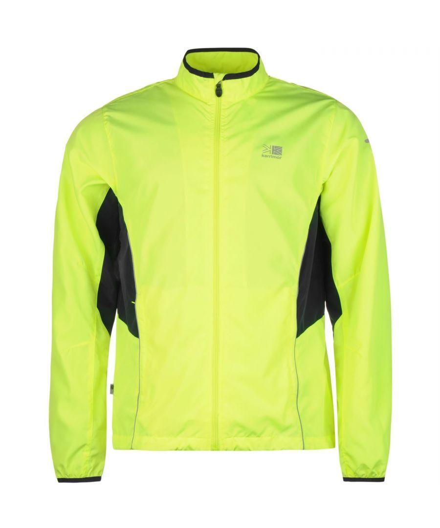 Karrimor Mens Running Jacket Jogging Long Sleeve Zip Fastening Coat Top Outdoor - Neon - Size M