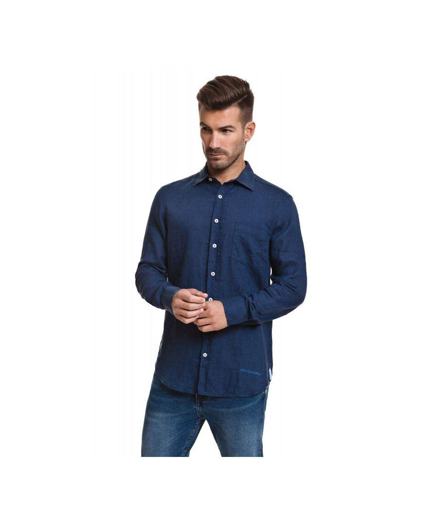 Javier Larrainzar Long Sleeve Button Down Shirt  - Navy - Size: Extra Large