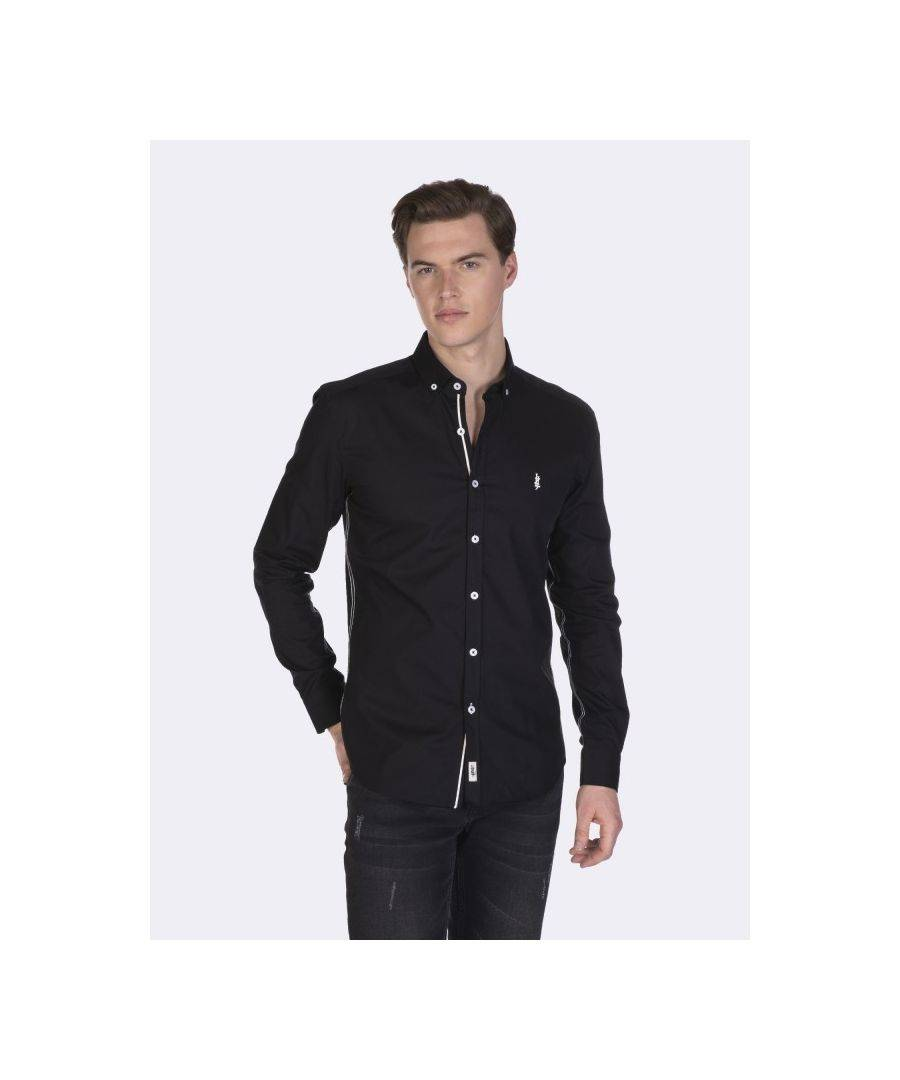 Javier Larrainzar Long Sleeve Button Down Shirt  - Black - Size: Extra Large