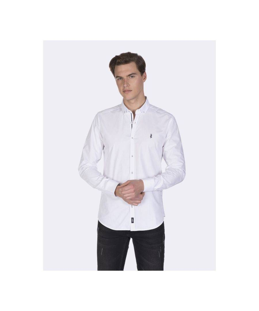Javier Larrainzar Long Sleeve Button Down Shirt  - White - Size: Extra Large