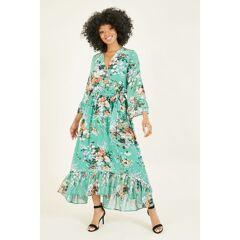 Yumi Womens Green Garden Floral Print Dress - Size 10