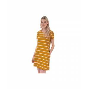 Only Women's May Life A-Line Stripe Dress in Mustard  - Yellow - Size: 4
