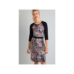 Yumi Multi Paisley Printed Stretch Dress  - Multicolour - Size: 14