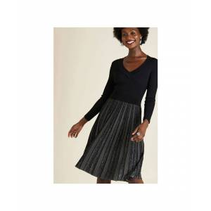 Yumi Black Knit Dress With Pleated Skirt  - Black - Size: Large
