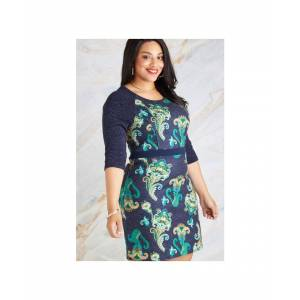 Yumi Curves Navy Plus Size Indian Paisley Skater Dress  - Navy - Size: 22