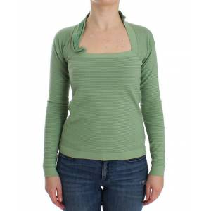 Ermanno Scervino Womens Green Wool Blend Striped Long Sleeve Sweater - Multicolour - Size S