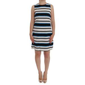Dolce & Gabbana Blue White Striped Silk Stretch Shift Dress  - Multicolour - Size: Large