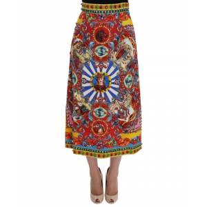 Dolce & Gabbana Red Carretto Print Brocade Crystal Skirt  - Multicolour - Size: Small