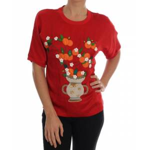 Dolce & Gabbana Womens Red Silk Orange Vase Crystal Top - Multicolour - Size X-Small