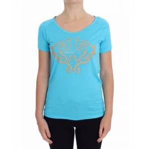 Versace Jeans Womens Blue Crew-neck Studded T-shirt - Multicolour - Size X-Small