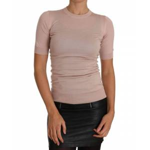 Dolce & Gabbana Pink Cashmere Short Sleeved Knit Top  - Multicolour - Size: Small