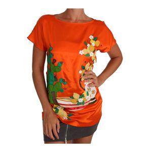Dolce & Gabbana Womens Silk Orange Lemon Crystal T-shirt Top - Multicolour - Size X-Small