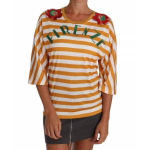 Dolce & Gabbana Womens White Orange FIRENZE Top T-shirt - Multicolour - Size X-Small