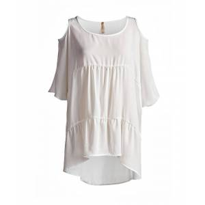 Conquista Tunic with Uneven Hemline  - Off-White - Size: 22