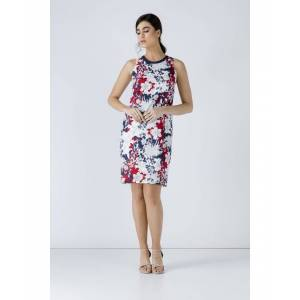 Conquista Floral Sleeveless Dress  - Navy - Size: Large