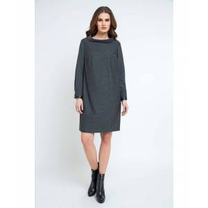 Conquista Womens Casual H-line Stand Collar Long Sleeve Midi Dress - Charcoal - Size 20