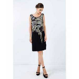 Conquista Print Layer Dress with Tie Detail  - Black - Size: 12