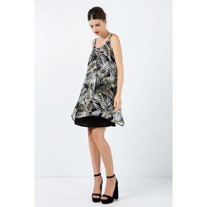 Conquista Sleeveless Print Chiffon Dress with Layers  - Black - Size: 18