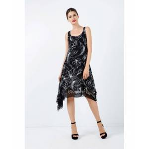 Conquista Sleeveless Layer Dress with Net Detail  - Black - Size: 14