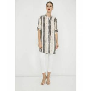 Conquista Long Summer Shirt in Print Striped Fabric  - Blush - Size: 12