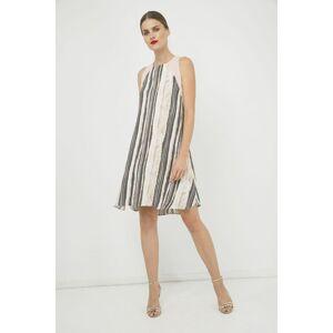 Conquista Summer Striped A Line Dress  - Rose Gold - Size: 18