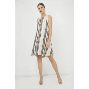Conquista Summer Striped A Line Dress  - Rose Gold - Size: 18