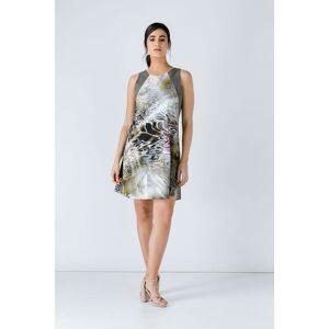 Conquista Khaki Animal Print Dress  - Khaki - Size: 12