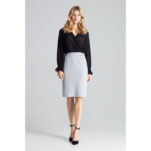 Figl Grey Pencil Classic Midi Skirt  - Grey - Size: Large