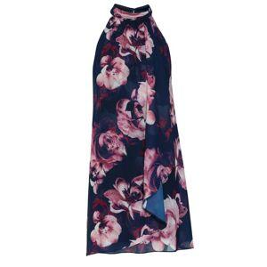 Gina Bacconi Malka Floral Chiffon  - Navy - Size: 20
