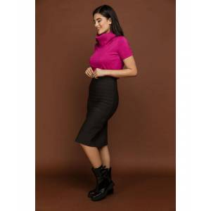 Conquista Fitted Dark Grey Stretch Skirt by Si Fashion  - Charcoal - Size: 14