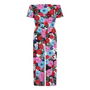 Yumi Curves Sixties Flower Jumpsuit  - Multicolour - Size: 24