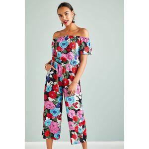 Yumi Sixties Flower Jumpsuit  - Multicolour - Size: 14