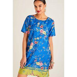 Yumi Blue Summer Floral Print Tunic Dress  - Blue - Size: 8