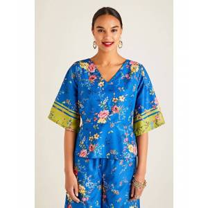 Yumi Summer Floral Printed Top With Border Sl  - Blue - Size: 10