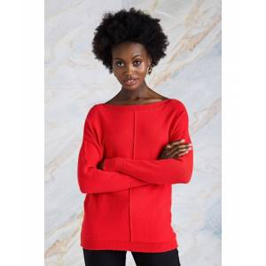 Yumi Relaxed Knit Jumper  - Red - Size: Large
