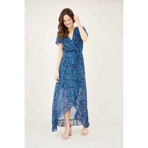 Yumi Ditsy wrap dipped hem maxi dress  - Blue - Size: Large