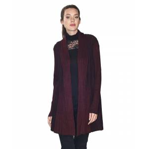 Assuili Long Sleeve Textured Mesh Open Cardigan (Large Fit) in Maroon  - Maroon - Size: 3X-Large