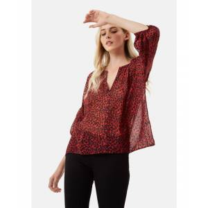 Traffic People Folklore Animal Print Shirt in Red  - Red - Size: Large