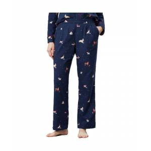 Joules Womens Snooze Tie Waisted Printed Pajama Bottoms  - Navy - Size: 18