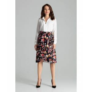 Lenitif Floral Print Midi skirt pleated at the waist  - Multicolour - Size: Large