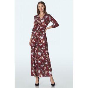Nife Claret maxi dress in flowers pattern  - Burgundy - Size: 14