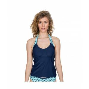 Trespass Womens Winona Tie Neck Contrast Summer Tankini Top - Navy - Size Small