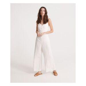 Superdry Womens Eden Linen Jumpsuit - White - Size 10