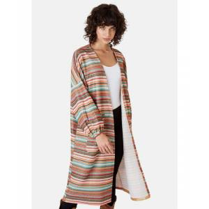 Traffic People Striped Long Sleeved Shrug Jacket in Multicoloured  - Multicolour - Size: Large