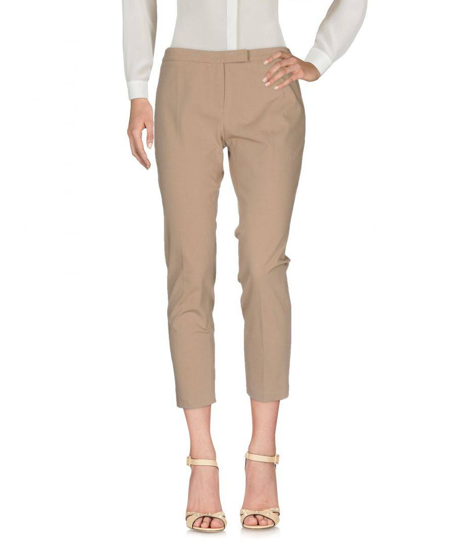 Betty Blue Womens Light Brown Cotton Straight Leg Chino Trousers - Size 14