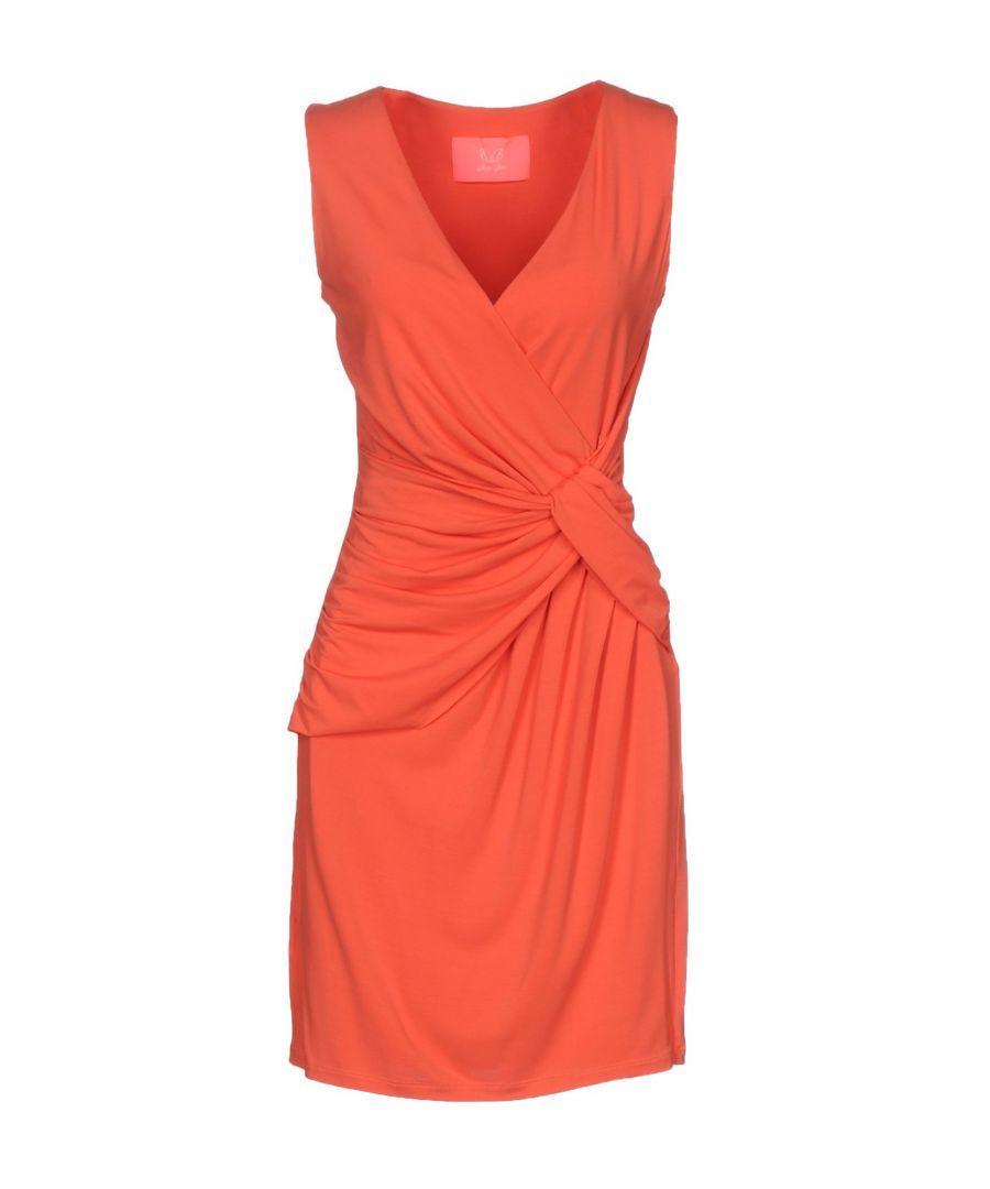 Betty Blue Coral Draped Sleeveless Dress  - Coral - Size: 12