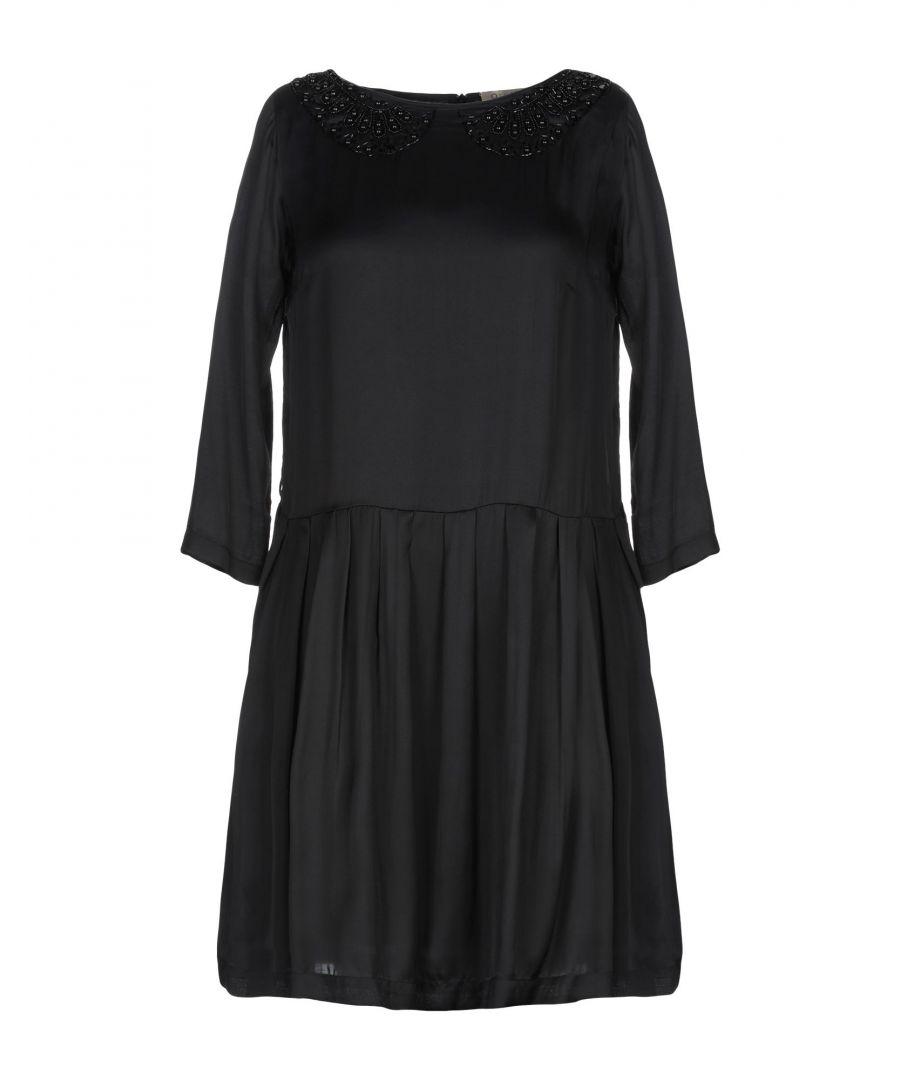 L' Autre Chose Womens Black Satin Beaded Dress Viscose - Size 8