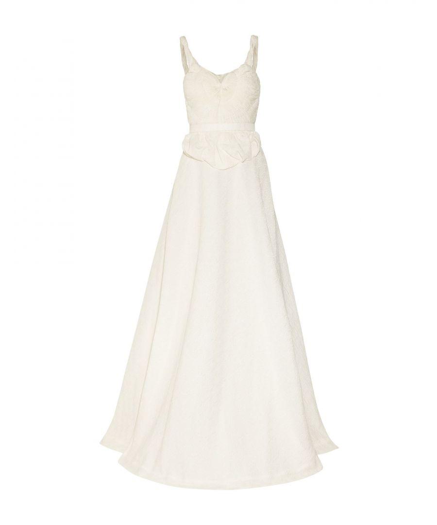 Sophia Kokosalaki Womens Ivory Silk Jacquard Full Length Dress - Size 10