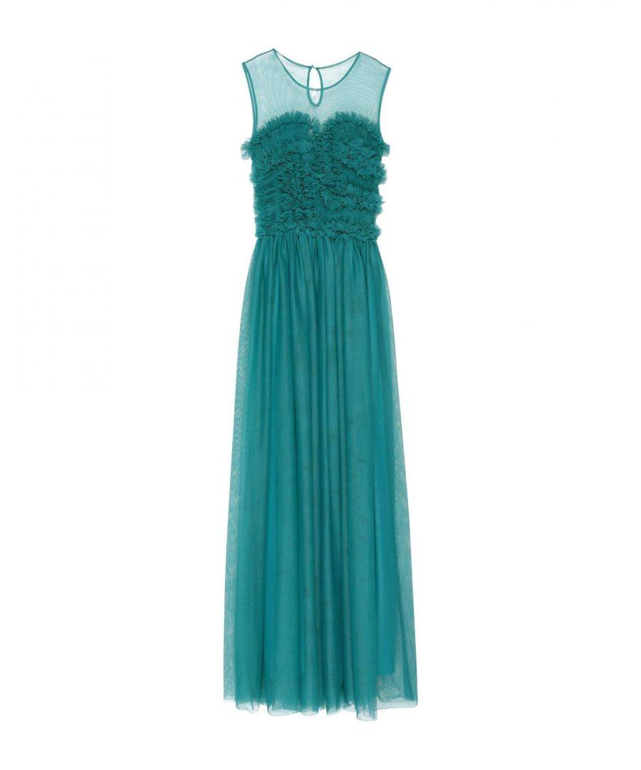 P.A.R.O.S.H. Deep Jade Tulle Full Length Dress  - Green - Size: Small